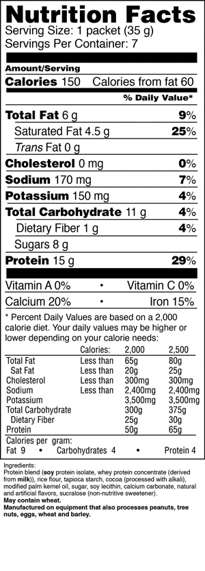 Cocoa Puffs Nutrition Facts Label